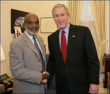 Haitian President Rene Preval with Bush in 2006